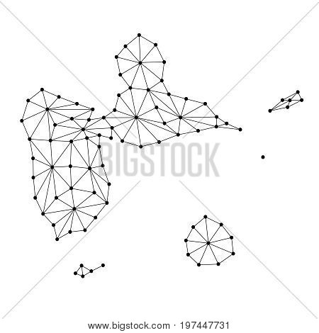Guadeloupe map of polygonal mosaic lines network rays and dots vector illustration.