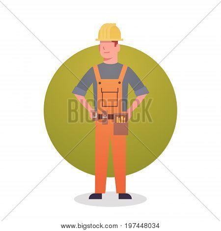 Builder Man Icon Engeneer Occupation Contractor Flat Vector Illustration