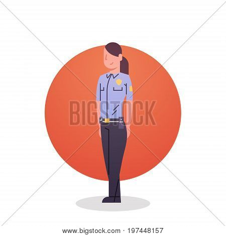 Police Woman Icon Female Cop Guard Security Flat Vector Illustration