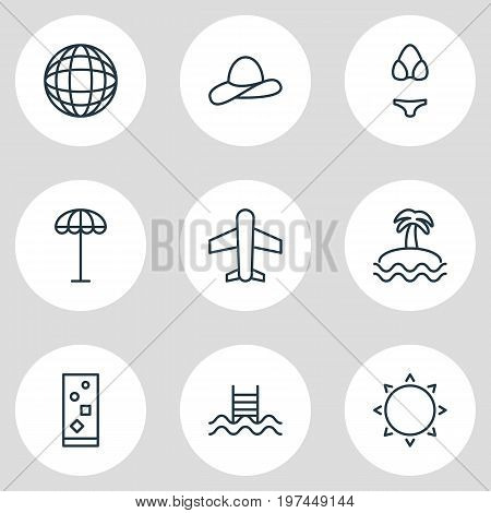 Editable Pack Of Cap, Umbrella, Palm And Other Elements.  Vector Illustration Of 9 Season Icons.