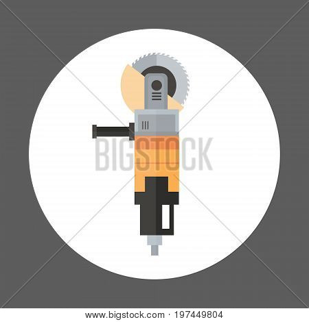 Angle Grinder Icon Working Hand Tool Equipment Concept Vector Illustration