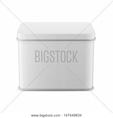 Rectangular white glossy tin can. Container for dry products - tea, coffee, sugar, candy, spice. Realistic packaging mockup template. Vector illustration. High angle view.