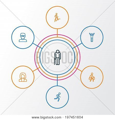 Person Outline Icons Set. Collection Of Pulling, Climbing, Rejoicing And Other Elements