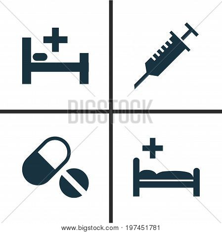 Antibiotic Icons Set. Collection Of Polyclinic, Peck, Pills And Other Elements