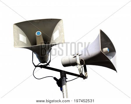 Public address system of two megaphones cut out on and isolated on a white background