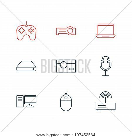 Editable Pack Of Photography, Joypad, Modem And Other Elements.  Vector Illustration Of 9 Accessory Icons.