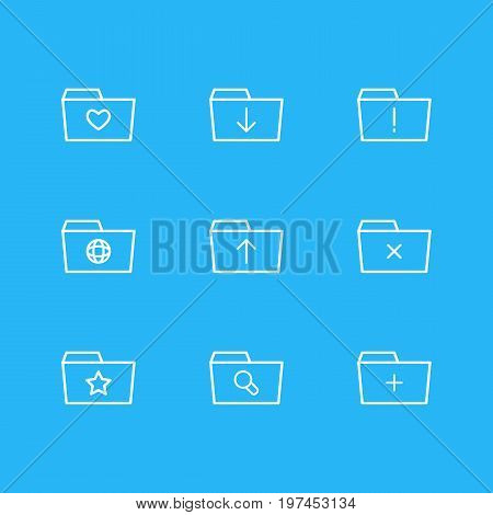 Editable Pack Of Dossier, Plus, Upload And Other Elements.  Vector Illustration Of 9 Dossier Icons.