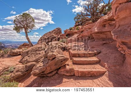 Trail Leading To Grandview Point In Canyonlands National Park In Utah
