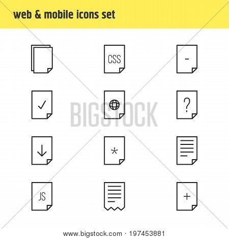 Editable Pack Of Plus, Copy, Question And Other Elements.  Vector Illustration Of 12 Paper Icons.