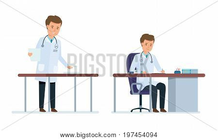 Set of character medical doctor. Healthcare and medical help. Doctor in office, in the doctor's office, with personal cards of patients and documents. Vector illustration isolated in cartoon style.
