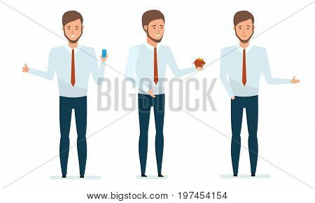 Concept of financial management, financial growth, research. Financial manager provides advice on mobile application, services, increasing profits and revenues. Vector illustration in cartoon style.