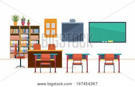 School and university classroom with chalkboard and desks. Class for education, board, table and study, blackboard and lesson. Interior of modern school class. Education. Vector illustration