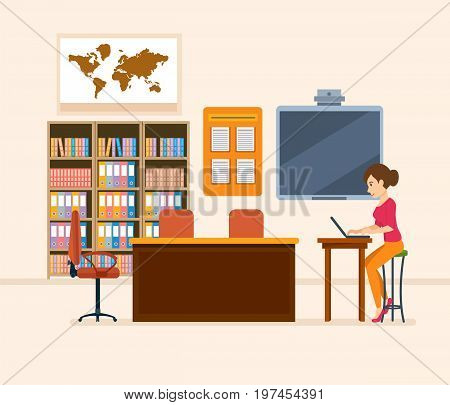 Interior of room for teacher. School worker, class teacher. Workplace. Education and training. Class for education, board, table, study, blackboard and lesson. Vector illustration