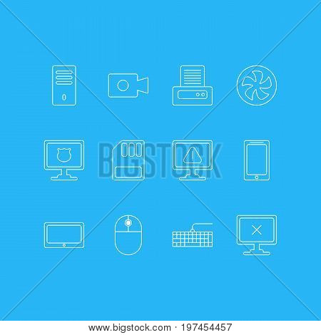 Editable Pack Of Qwerty Board, Printer, Cooler And Other Elements.  Vector Illustration Of 12 Notebook Icons.