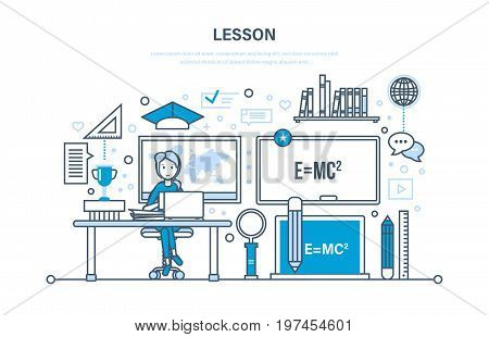 Concept of system education and training, class lesson, learning, school and university lesson, knowledge, science, teaching, skills. Illustration thin line design of vector doodles