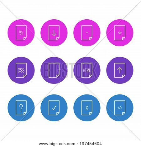 Editable Pack Of Upload, Basic, HTML And Other Elements.  Vector Illustration Of 12 File Icons.