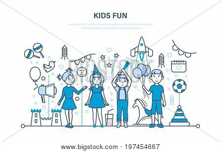 Children party indoor concept. Small happy kids, play, have fun, firecrackers explode, give gifts. Solemn celebration. Illustration thin line design of vector doodles, infographics elements.