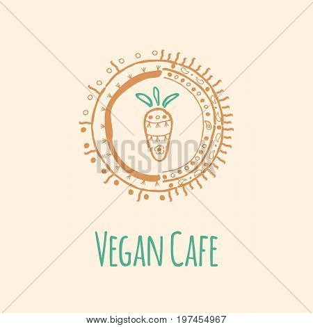 Vector logo template with a picture of carrots for Vegan cafe or restaurant menu or organic food shop. Hand drawn ayurvedic illustration.