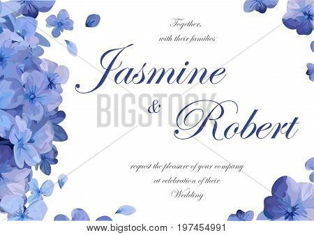 Wedding invitation flower invite card design with blue purple garden hydrangea flower hortensia flowers romantic poster banner.Vector horizontal anniversary print. Elegant cute template isolated white
