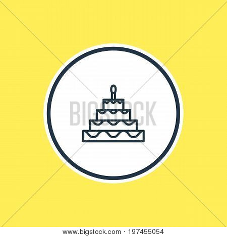 Beautiful Banquet Element Also Can Be Used As Patisserie Element.  Vector Illustration Of Birthday Cake Outline.
