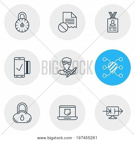 Editable Pack Of Safeguard, Account Data, Copyright And Other Elements.  Vector Illustration Of 9 Protection Icons.