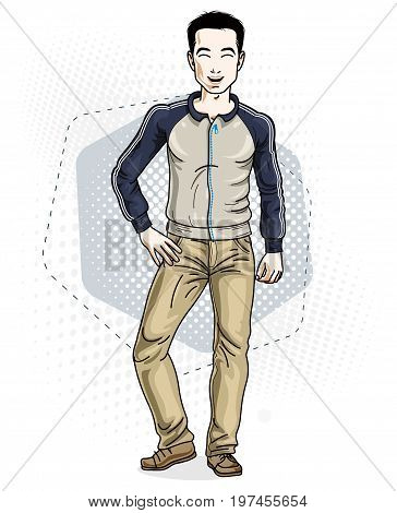 Handsome brunet young man standing. Vector illustration of man wearing stylish casual clothes.