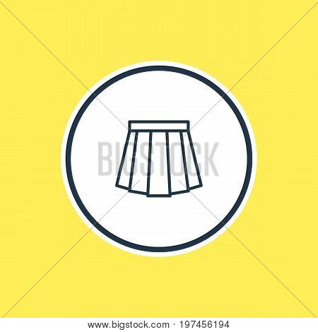 Beautiful Clothes Element Also Can Be Used As Apparel Element.  Vector Illustration Of Skirt Outline.