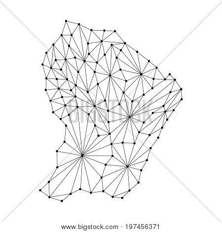 French Guiana map of polygonal mosaic lines network rays and dots vector illustration.