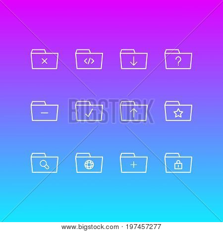 Editable Pack Of Pinned, Question, Remove And Other Elements.  Vector Illustration Of 12 Dossier Icons.