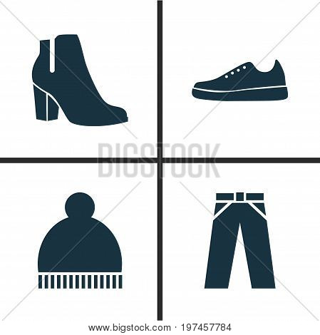 Garment Icons Set. Collection Of Beanie, Pants, Female Winter Shoes And Other Elements