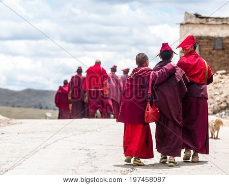 View on group of tibetan monks by Sichuan village in Tibet