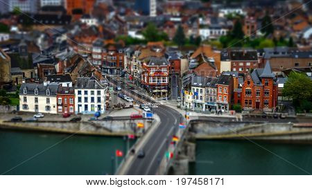 Tilt-shift Panoramic Aerial View Of Namur, Spring Day