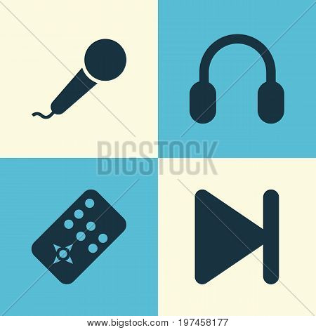 Multimedia Icons Set. Collection Of Earmuff, Microphone, Controller And Other Elements