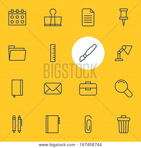 Editable Pack Of Garbage Container, Folder, Pushpin And Other Elements.  Vector Illustration Of 16 Instruments Icons.