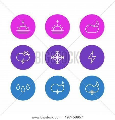 Editable Pack Of Sunrise, Snowflake, Moon Month And Other Elements.  Vector Illustration Of 9 Atmosphere Icons.