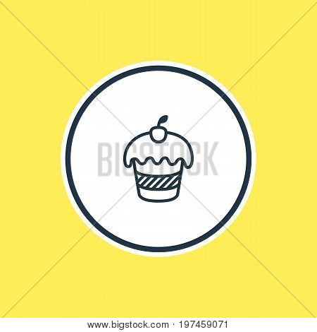 Beautiful Banquet Element Also Can Be Used As Muffin Element.  Vector Illustration Of Cupcake Outline.