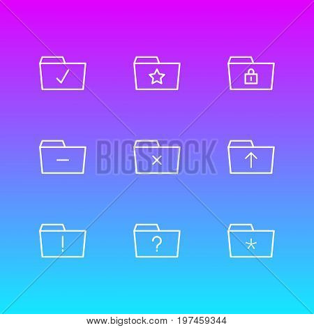 Editable Pack Of Important, Significant, Submit And Other Elements.  Vector Illustration Of 9 Dossier Icons.