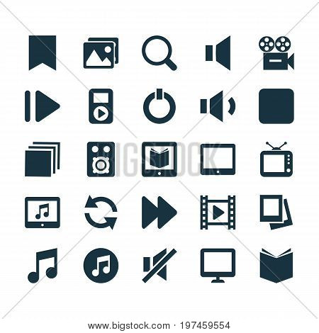 Music Icons Set. Collection Of Album, Pause, Palmtop And Other Elements