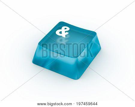Ampersand symbol on transparent keyboard button. 3D rendering