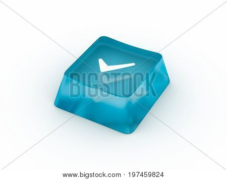 Check mark symbol on transparent keyboard button. 3D rendering