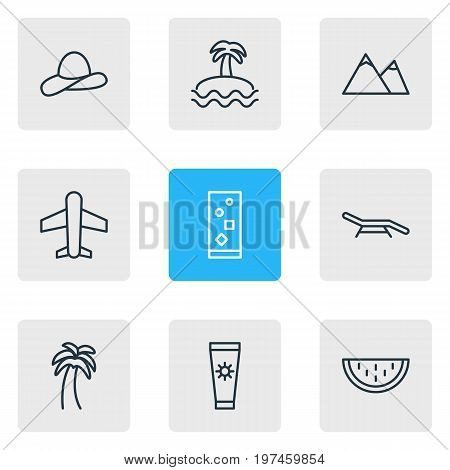 Editable Pack Of Airplane, Longue, Anti-Sun Cream And Other Elements.  Vector Illustration Of 9 Season Icons.