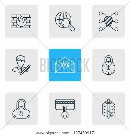 Editable Pack Of Internet Surfing, Network Protection, Corrupted Mail And Other Elements.  Vector Illustration Of 9 Security Icons.