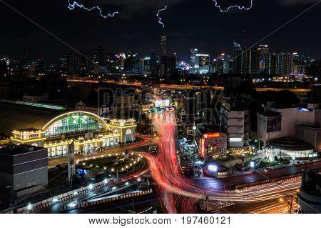 Bangkok Thailand - July 17 2017 : Bangkok central train station (Hua Lamphong Railway Station). This is the main railway station in Bangkok located in the center of Bangkok.