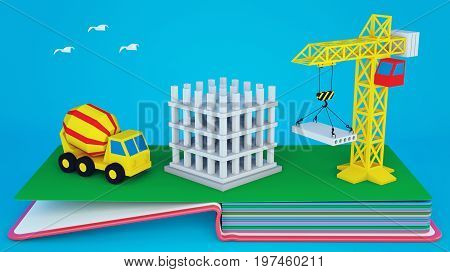 Pop up book with layout of construction site and equipment. 3D rendering