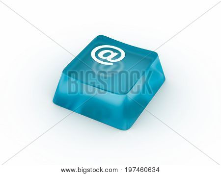 Email symbol on transparent keyboard button. 3D rendering