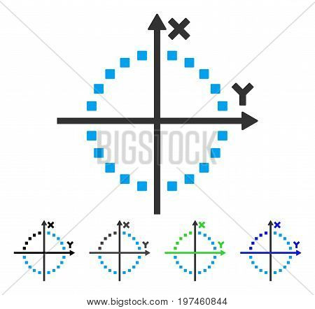 Circle Plot flat vector pictogram. Colored circle plot gray black blue green pictogram versions. Flat icon style for application design.