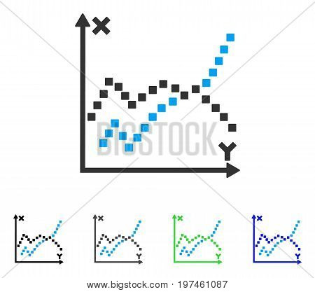 Functions Plot flat vector icon. Colored functions plot gray black blue green pictogram variants. Flat icon style for graphic design.