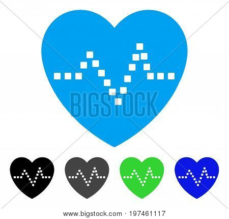 Heart Pulse flat vector illustration. Colored heart pulse gray black blue green icon variants. Flat icon style for application design.