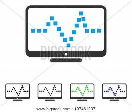 Pulse Monitoring flat vector icon. Colored pulse monitoring gray black blue green pictogram versions. Flat icon style for web design.