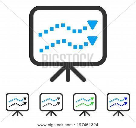 Trends Presentation flat vector illustration. Colored trends presentation gray black blue green pictogram variants. Flat icon style for application design.